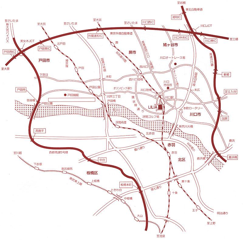 川口総合文化センターまでの広域マップ